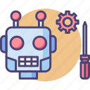 maintenance, repair, robot, robotic, robotics, screwdriver, service icon