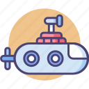 mini, mini submarine, submarine, vessel icon