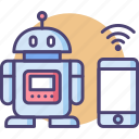controlled, mobile, mobile controlled robot, robot, smartphone robot icon