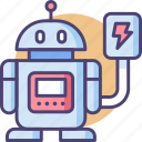 android, bot, charging, droid, machine, robot, robotics icon