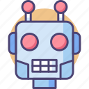 android, bot, cyborg, robot, robot head icon