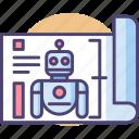 blueprint, machine, plan, robot, robotic icon