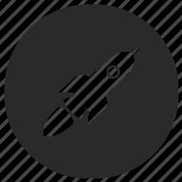 air, flight, rocket, round, ship, space icon