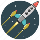 business, fly, marketing, rocket, space, spaceship, startup icon
