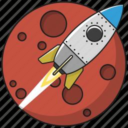 business, marketing, planet, rocket, space, spaceship, startup icon
