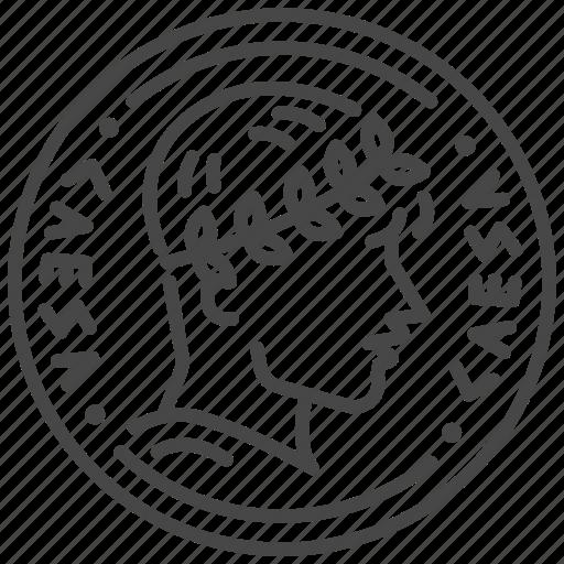 ancient, caesar, coin, currency, emperor, money, roman icon