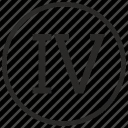 four, number, roman icon