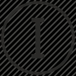 number, one, roman icon