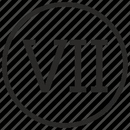 number, roman, seven icon