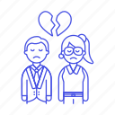 1, breakup, broken, couple, divorce, ending, heart, relationship, romance, separation, sorrow icon