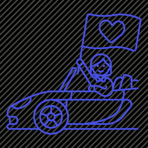anniversary, boyfriend, car, date, female, flag, heart, love, pick, pickup, red, romance, surprise, up icon