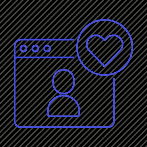 app, application, dating, heart, info, match, online, profile, romance, user, website, window icon