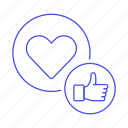 app, dating, emoji, heart, like, love, network, online, romance, social, thumbs, up icon