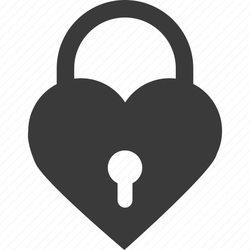 heart, lock, love, security icon