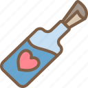 bottle, day, in, messga, romance, valentines icon