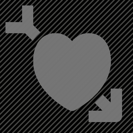 arrow, cupid, heart icon