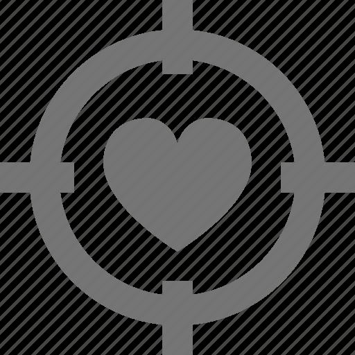 aim, heart, target icon