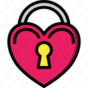 day, heart, lock, romance, valentines icon