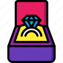 box, day, ring, romance, valentines icon