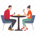 couple dinner, dating, drinking wine, leisure time, lovers icon