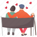 aged couple, lifetime partners, married couple, old couple, romantic couple icon