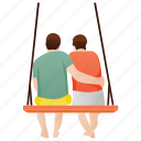 couple sitting, leisure time, lovers, partners, romantic couple icon