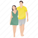 couple walk, honeymoon, lifetime partners, married couple, romantic couple icon