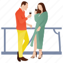 couple dating, drinking wine, lovers, romantic couple, wine icon