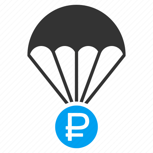 finance, money, parachute, protect, protection, rouble rescue, safety icon