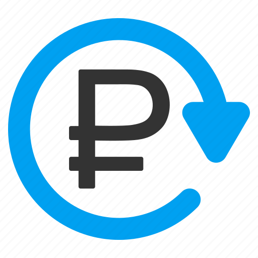 money, recurring payment, regular, repay, repeat, rouble, update icon