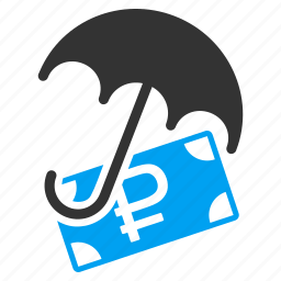 financial, insurance, money, protection, rouble, safety, umbrella icon