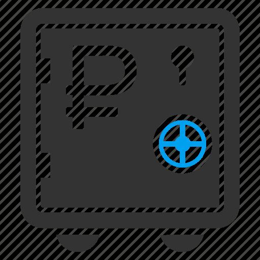 bank safe, cash storage, deposit, locked, rouble, safety, steel box icon