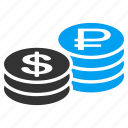 coins, currency, dollar, exchange, finance, money, rouble cash icon