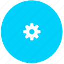 blue, gear, prefences, settings, system icon