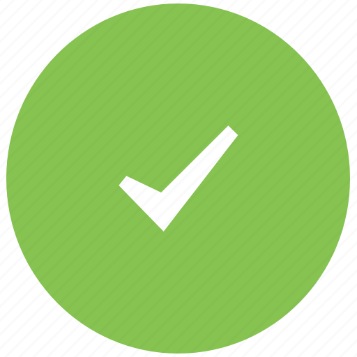 completed, correct, done, green, tick icon