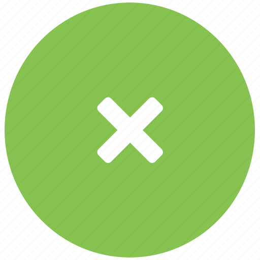 close, delete, dismiss, green, x icon