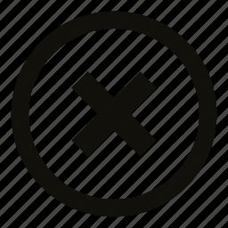 circle, close, cross, delete, drop, exit, remove icon