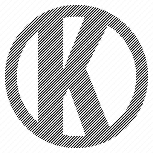 alphabet, character, k, round, social icon