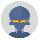 alien, avatar, face, hero, round icon