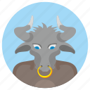 animal, avatar, bull, comics, head, round icon