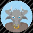 animal, avatar, bull, comics, head, round icon