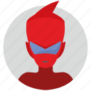 avatar, boy, face, head, hell, red, round icon