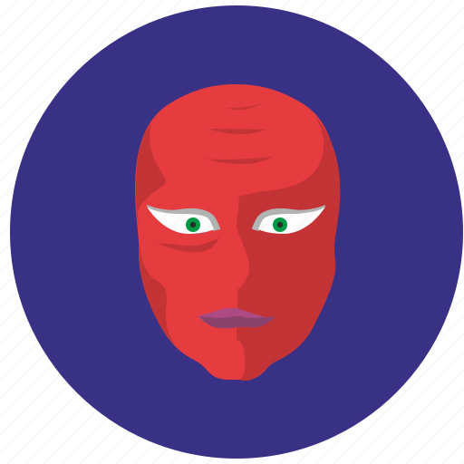avatar, face, head, man, red icon