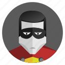 avatar, face, hero, man, mask, robin, round icon