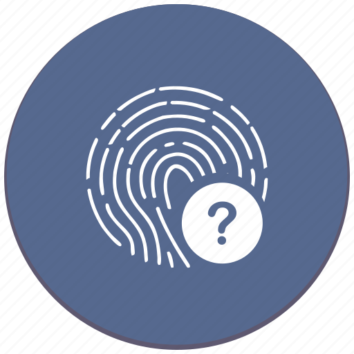 biometry, dactolgraphy, dactyl, finger, question, scanner icon