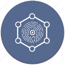 biometry, dactyl, dactylography, frame, round, scanner icon