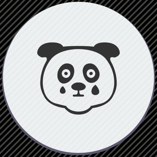 animal, avatar, baby, cry, face, panda icon