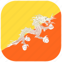 asian, bhutan, country, flag, national, rounded, square icon