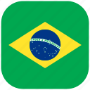 brasil, brazil, country, flag, national, rounded, square icon