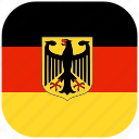 country, europe, flag, germany, national, rounded, square icon